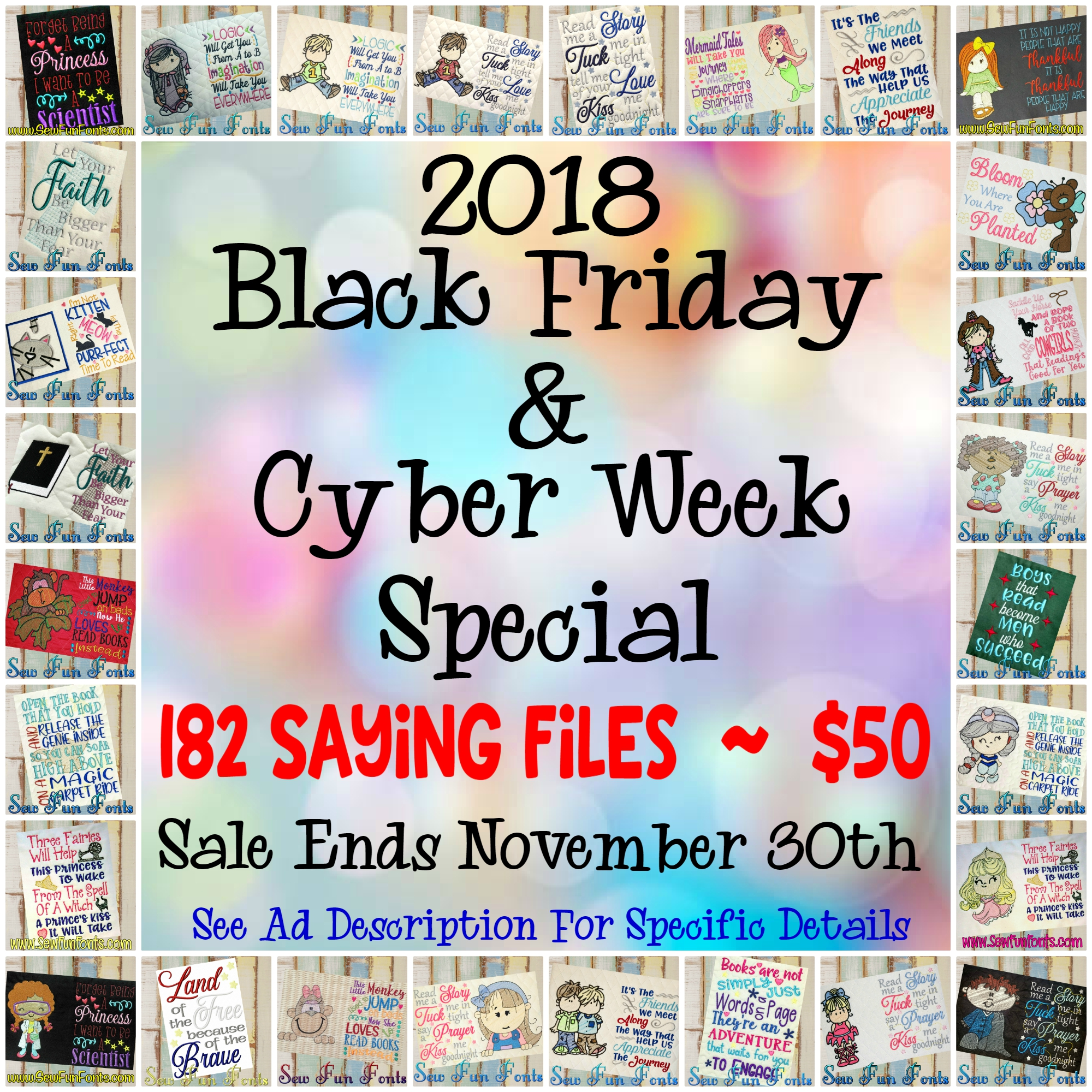 2018 Black Friday Sayings Deal Sew Fun Fonts